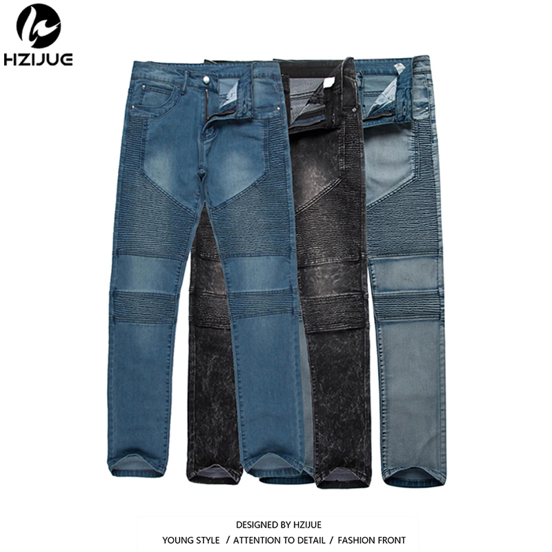HZIJUE men's Biker Jeans Motorcycle Slim Fit Washed Black Grey Blue white Moto Denim skinny Elastic Pants Joggers For Men jeans