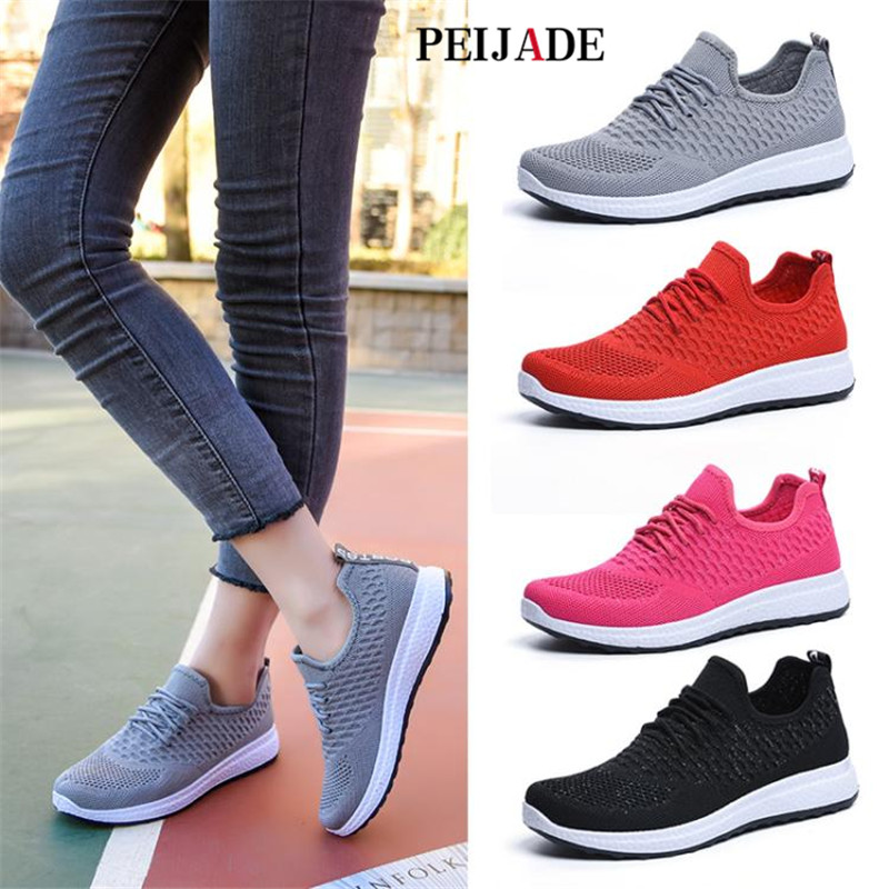 PEIJADE 2018 Ladies single shoes spring fashion soft sole shoes fly knit youth wear casual shoes breathable comfortable shoes. micro micro 2017 men casual shoes comfortable spring fashion breathable white shoes swallow pattern microfiber shoe yj a081