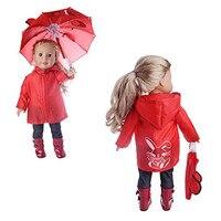 Red Rain Coat Doll Clothes For American Girl Dolls 6pcs Includes Rain Jacket Umbrella Boots Backpack
