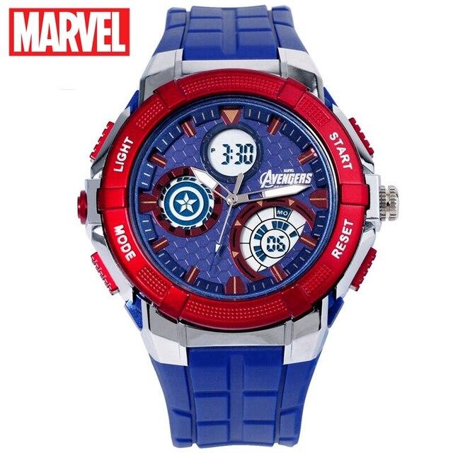 5ATM Multifuncional Relógio À Prova D' Água Esportes Homens Capitão América Marvel Avengers Iron Man Ceia Herói De Borracha LED Relógios Disney