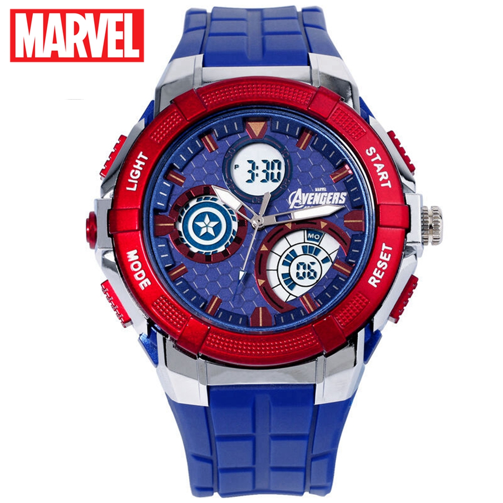 Marvel Avengers Men Sports Multifunctional 5ATM Waterproof Watch Captain America Iron Man Supper Hero Rubber LED Watches Disney dc marvel comics pencil wallets avengers hero captain america spider man iron man rectangle long pencil bag zipper pouch purse