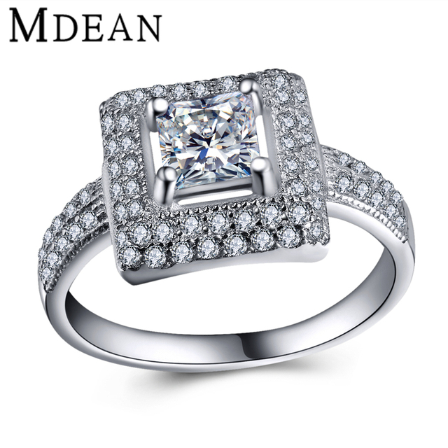 MDEAN women silver ring 925 solid sterling silver jewelry rings for women wedding fashion Accessories women rings Bijoux MSR436