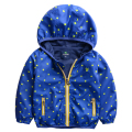 2015 children's outerwear  baby boy jacket  spring  with  Polka dot boy's  coat with a hood waterproof outdoor jacket