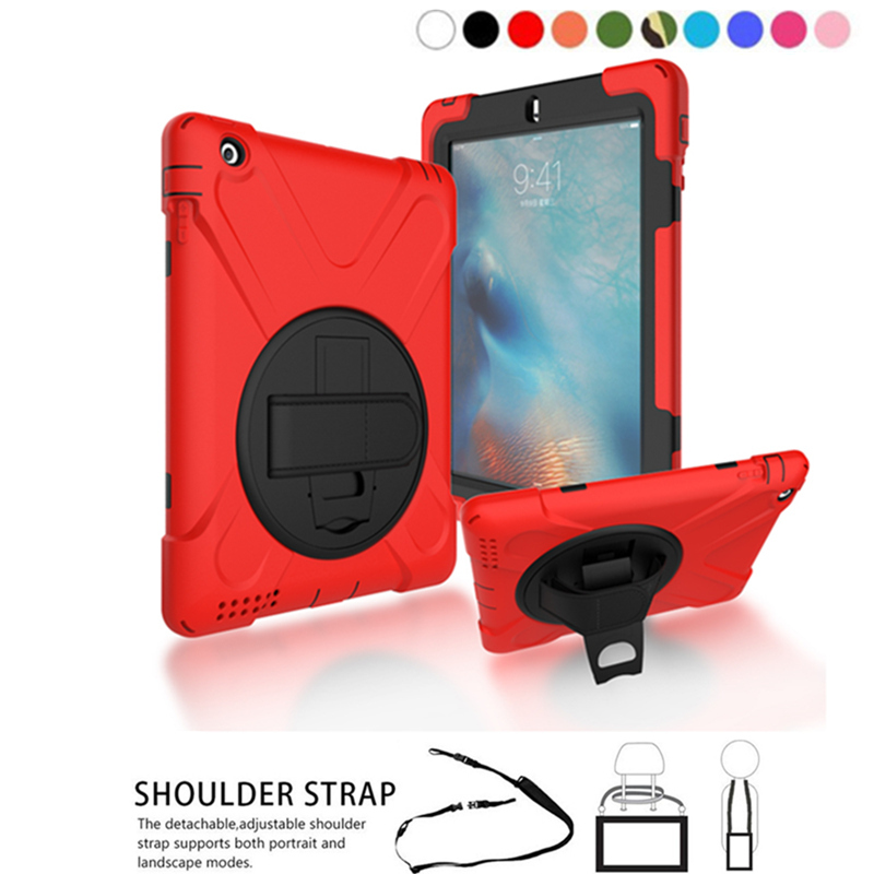 Case for iPad 2/iPad 3/iPad 4, 3-layers Rugged PC+Silicone hard Cover w/360 Swivel Stand holder function Hand Strap & Neck Strap protective silicone case w stand for ipad 2 3 4 white pink