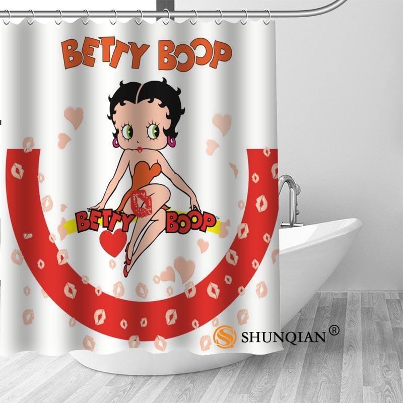 Custom betty boop Bath Curtain 100% polyester Fabric Modern Shower Curtain bathroom beautiful Bath decor Print your picture