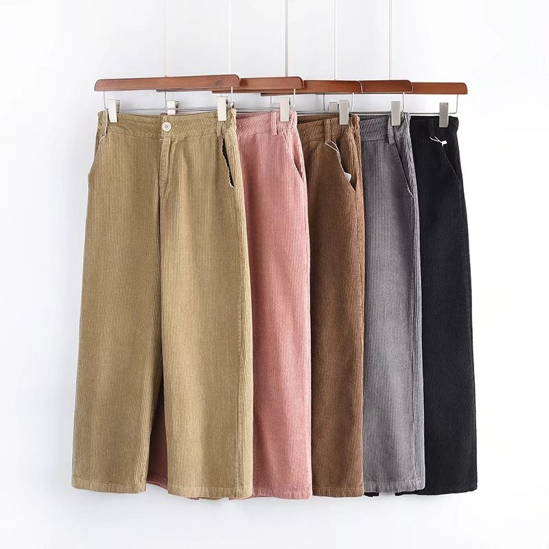 2019 Slim Thin Cord Corduroy High Waist   Wide     Leg     Pants   Women High Waist Cotton Retro Wind Loose Straight Casual   Pants