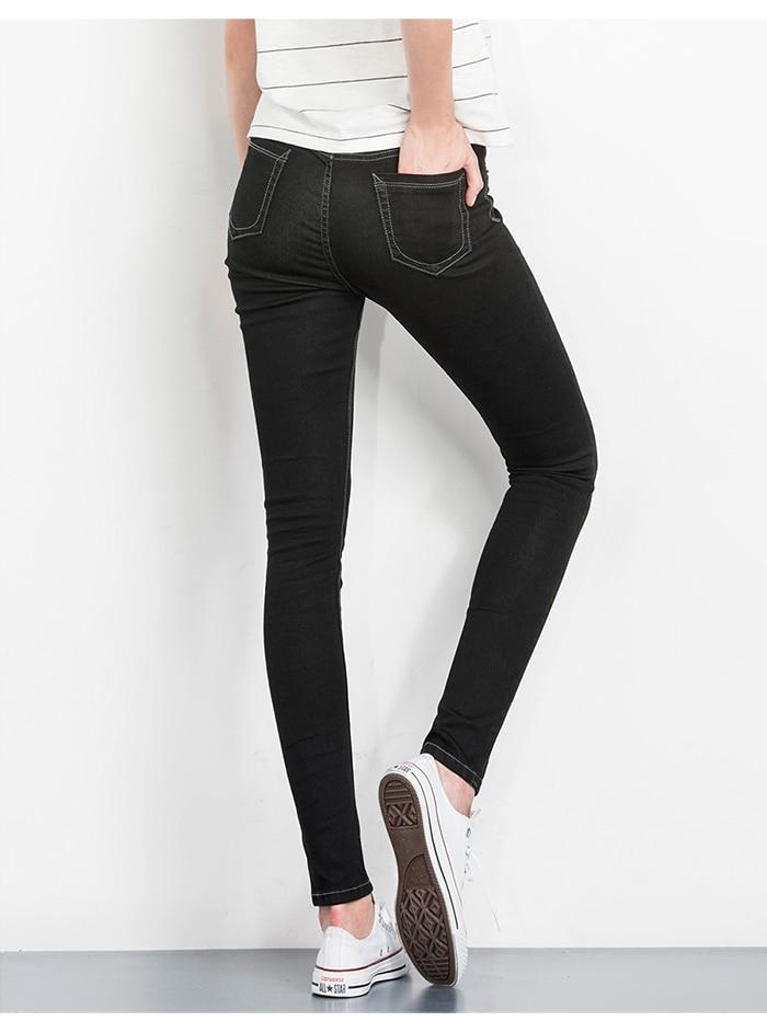 LEIJIJEANS Fashion Autumn Leggings Blue S 6XL Woman Mid Waist Plus Size women High Elastic Full Length Pants Skinny pencil Jeans 14