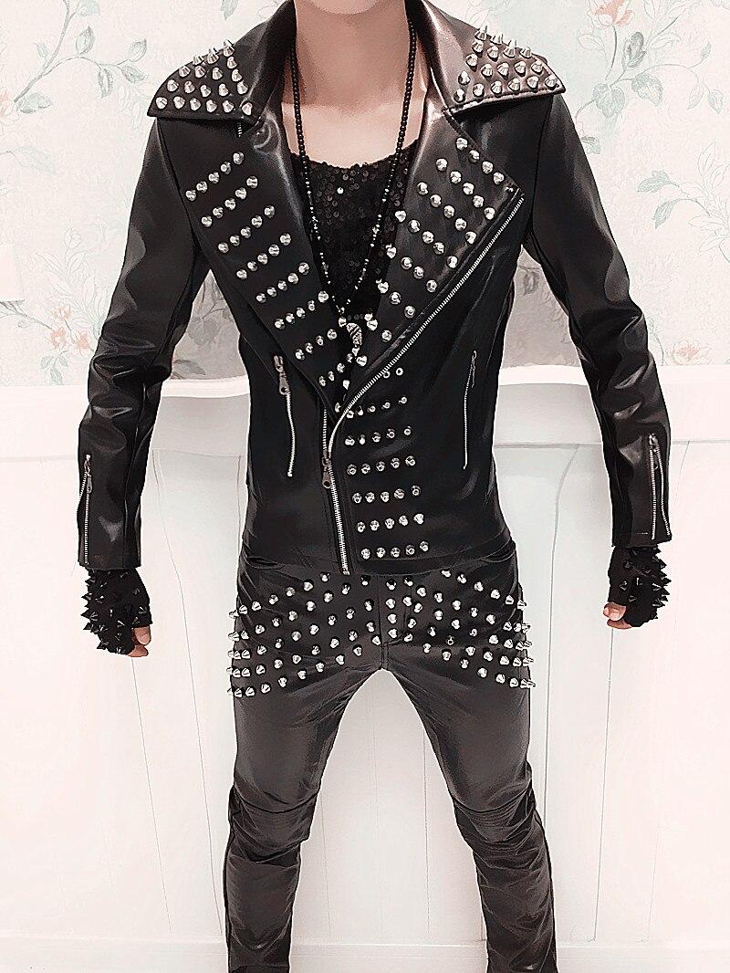 Панк-группы для Для мужчин певец DJ стоимость куртка костюм модные заклепки  кожаные мотоциклетные Костюмы кожаные штаны наряд 73064d3d634