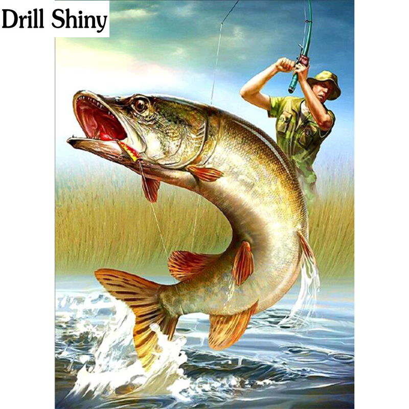 Drill Animal 5d Diy diamond Painting Cross Stitch diamond embroidery kits Catch the big fish picture Mosaic pattern gift fc576