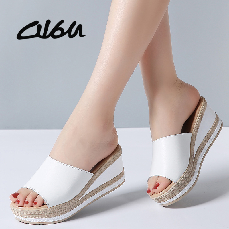 O16U Summer Slippers Women Flat Platform Sandals Shoes Beach Shoes Slip-on round toe Leather Wedges slides flip flops Ladies 2016 summer patent leather buckle slides for women fashion stone upper flat platform ladies casual beach slippers sandals shoes