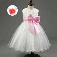 Dzieci Krótkie Białe i Różowe Perły Ślubne Suknie Bez Rękawów Hot Różowy Fioletowy Niebieski Czerwony Haftowane Sukienki I Zabawy Dla Dzieci