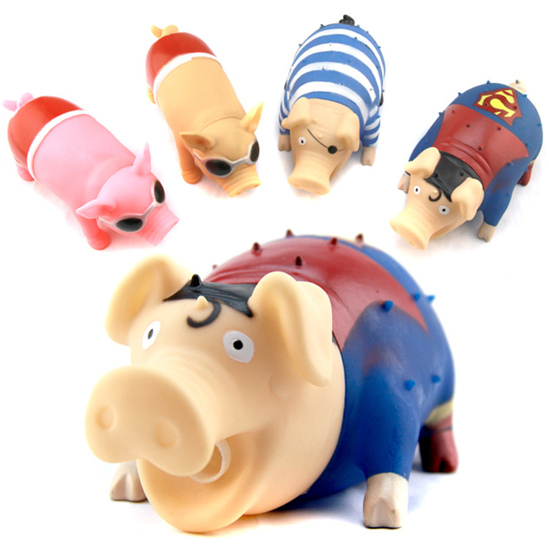 New 1 pcs Sound Pig Pet Toys Screaming Rubber Squeak Screaming pig pinching Le vent toys fun Toy
