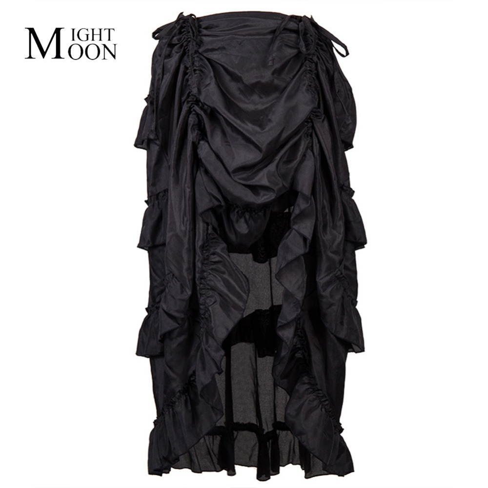 MOONIGHT Vintage Chiffon Asymmetrical Ruffle Long Lace Up Pleated Victorian Steampunk Skirt Gothic Skirts