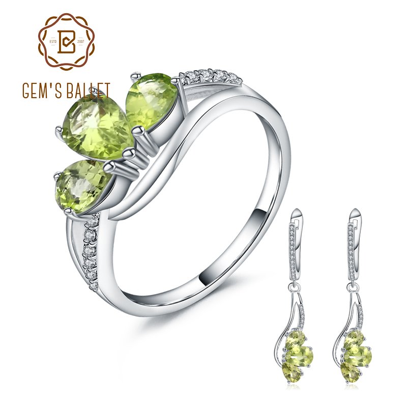 GEM S BALLET Natural Green Peridot Dangle Earrings Ring Jewelry Sets Genuine 925 Sterling Silver Vintage