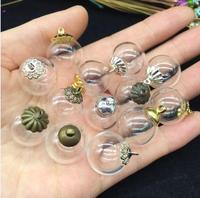 20 sets 16mm sfera glass globe con perline cap risultati dei monili FAI DA TE bottiglia fiala della collana del pendente sveglio medaglione terrario charms
