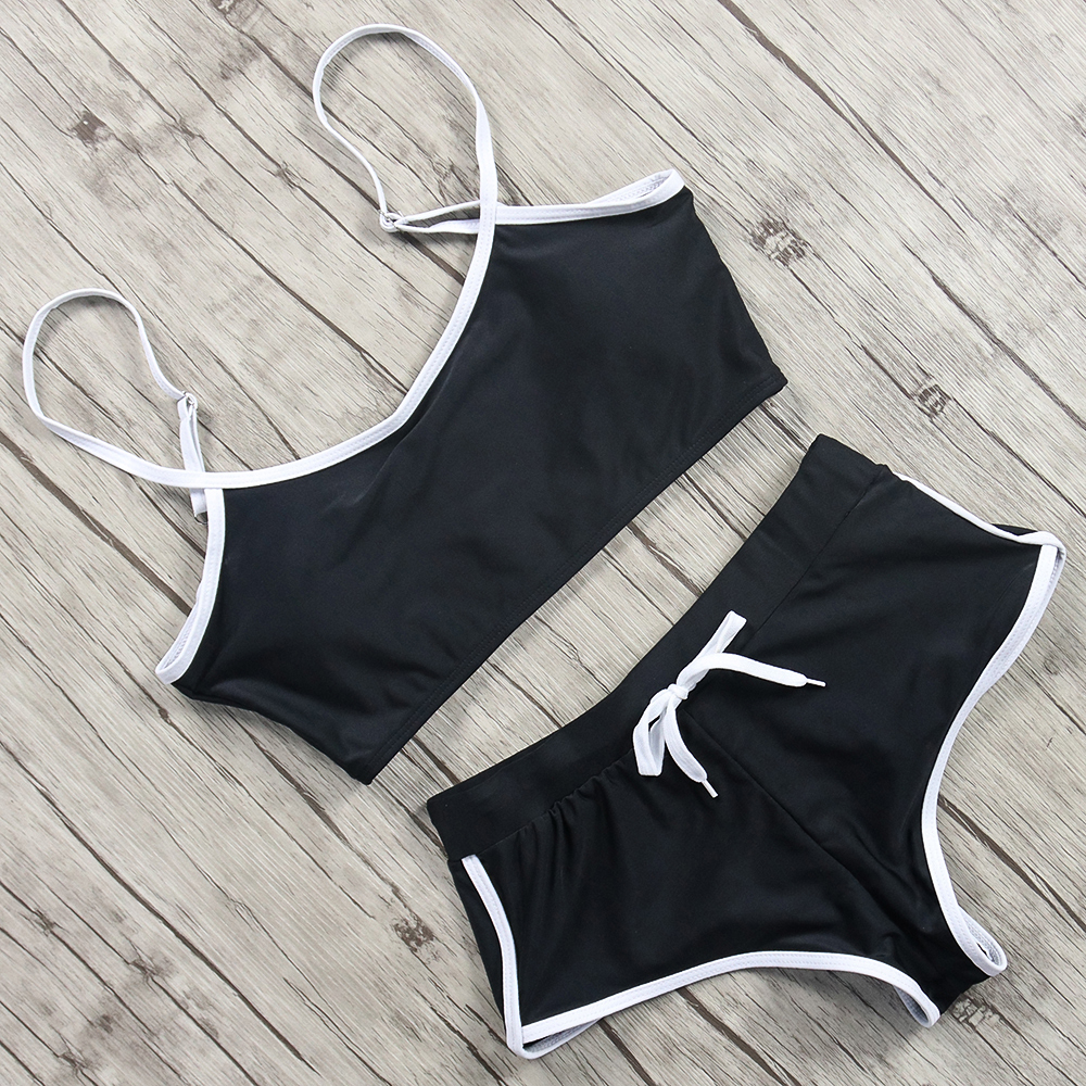 Sexy Sport Bikini Two Pieces Swimsuit T-Shirt Swimwear Women Push Up Bikinis 2019 Mujer Tankini Set Biquini Traje De Bano Mujer