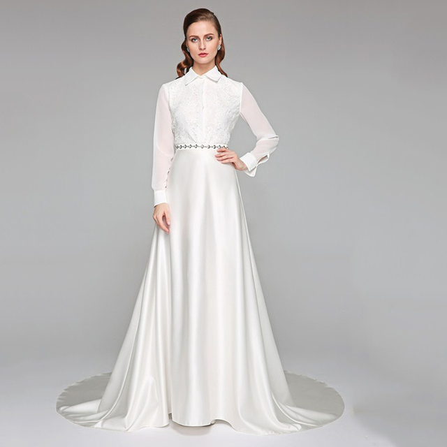 90eaf801c68 LAN TING BRIDE High Neck Chapel Train Chiffon Lace Satin Wedding Dress with  Sash   Ribbon Bow