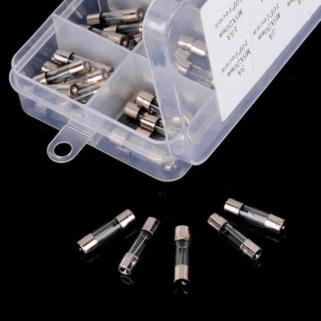 100pcs/lot 5x20mm Quick Fast Blow Glass Tube Fuse Assortment Kit  0.2/0.5/1/2/3/5/6/8/10/15A
