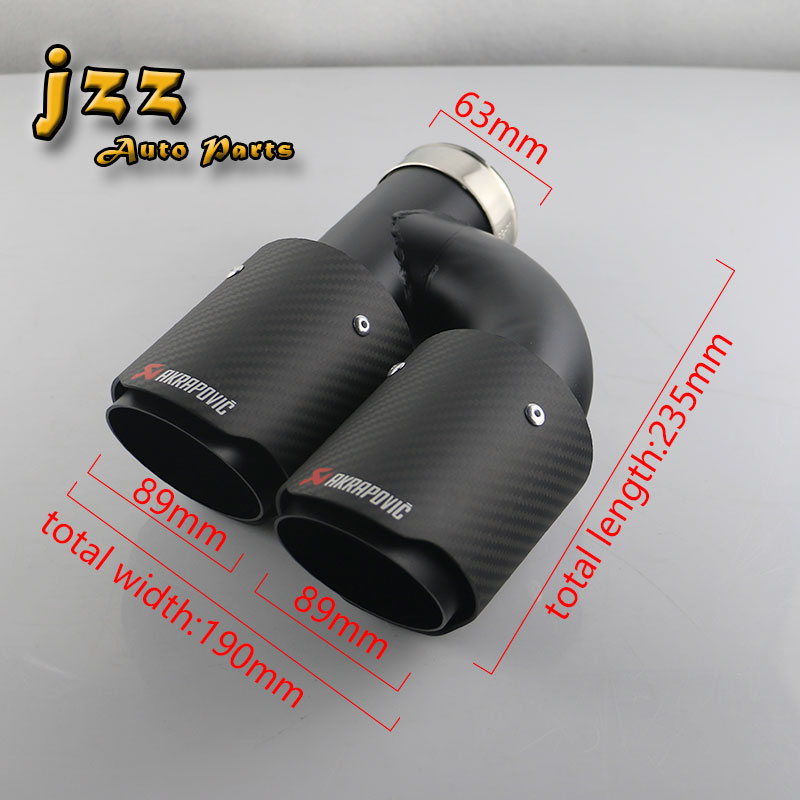 JZZ 1ps universal 63mm in 89mm out muffler pipe high quality stainless steel akrapovic black twill carbon fiber mate exhaust tip