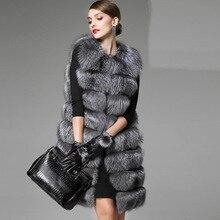 2016 ArtificialFox Fur Coat Women s Fur Vest Silver Fox Hair Colete Feminino Lengthen Plus Size