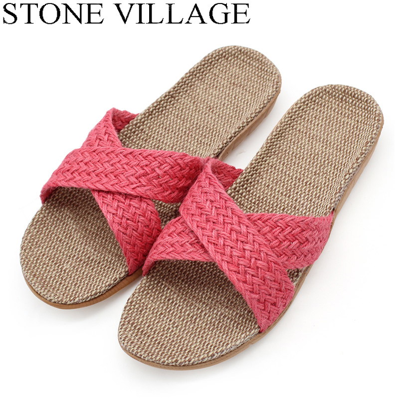STONE VILLAGE Summer Flax Slippers Mixed Colored Casual Indoor Floor Shoes Home Slipper Lovers Women Men Slippers 13 Colors