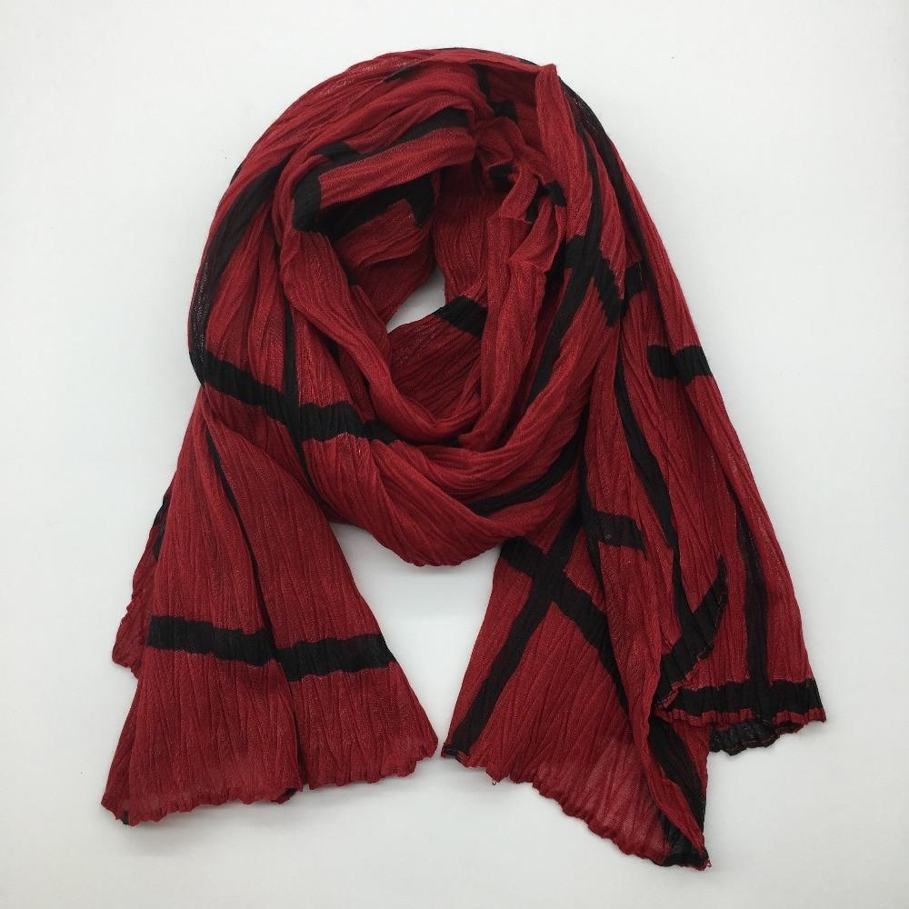 2016 New Fashion Plaid Crumple Ripple Print   Scarf   Women Long Plaid Crushed   Scarves     Wrap   Muslim Hijab Women   Scarf   Free Shipping