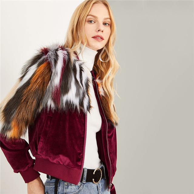 Women's Fur Patchwork Design Jacket