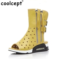 Coolcept Women Genuine Leather British Style Boots Fashion Zipper Tassels Wedges Boots Women Summer Vacation Boots