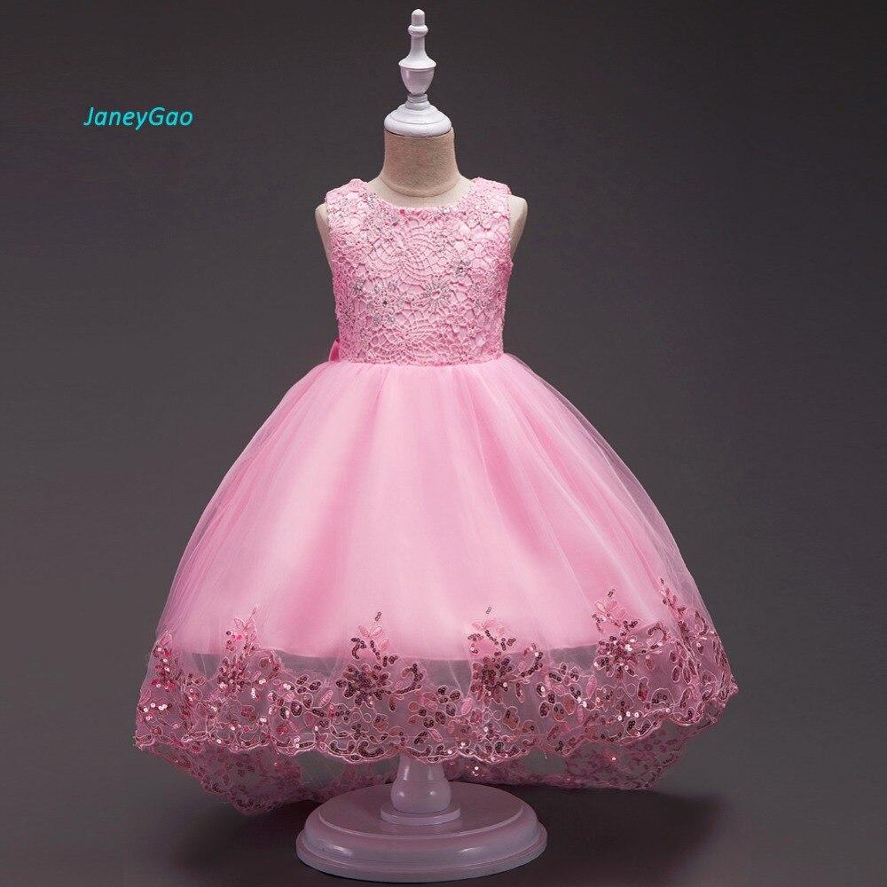 JaneyGao Flower Girl Dresses For Wedding Party Elegant With Short Train Long High Dress For Little Girl Formal Gown White Red