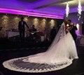 5 M Longo Véu Chic Lace Véu De Noiva Casamento Catedral Trem Apliques de Renda Borda Accessoriess Casamento feito Sob Encomenda