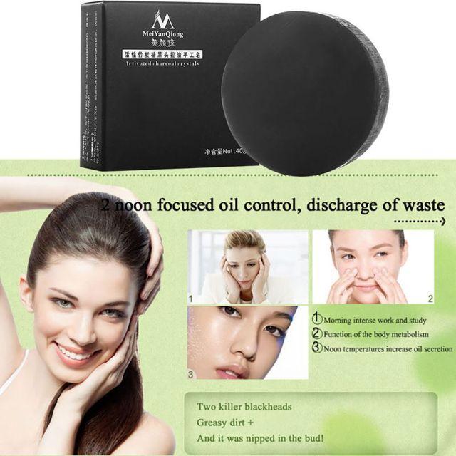 Handmade Soap Bamboo Charcoal Skin Care Treatment Natural Skin Whitening Soap Blackhead Remover Acne Treatment Control Oil 3