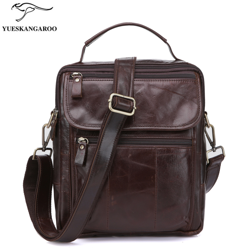 YUESKANGAROO Genuine Leather Bag top-handle Men Bags Shoulder Crossbody Bags Messenger  Flap Casual Handbags men Leather Bag cowhide messenger small flap casual handbags men leather bag genuine leather bag top handle men bags male shoulder crossbody ba