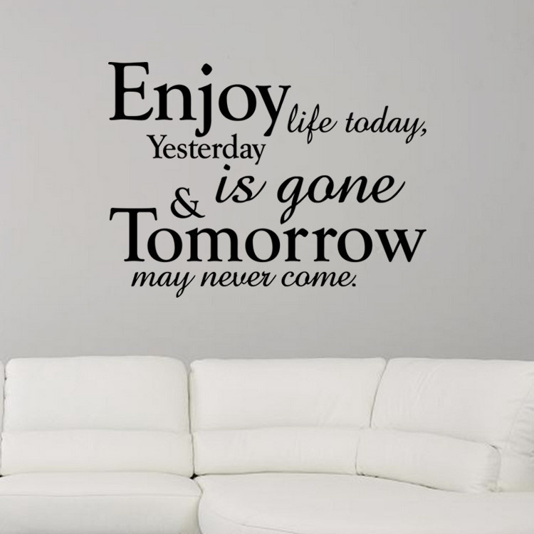 Quote For Today About Life Glamorous Hot Sale Enjoy Life Today Quote Tv Background Living Room Diy Wall