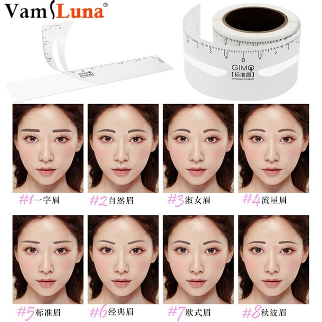 50pcs 8 Styles Eyebrow Ruler One-time Permanent Stencils Guide Measuring Makeup Tool Penciling Setting Ruler Accessory
