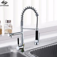 Newly Deck Mounted Single Handle Hole Dual Spouts Chrome Finish Kitchen Faucet
