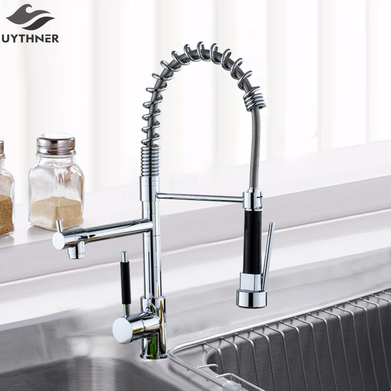 Uythner Chrome Finish Kitchen Faucet Dual Spout Kitchen Sink Crane Deck Mount Spring Kitchen Mixer Tap Kitchen Hot Cold Water fapully chrome finish single spout kitchen sink faucet deck mount spring kitchen mixer tap kitchen hot and cold water tap