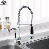 Uythner Chrome Finish Kitchen Faucet Dual Spout Kitchen Sink Crane Deck Mount Spring Kitchen Mixer Tap Kitchen Hot Cold Water