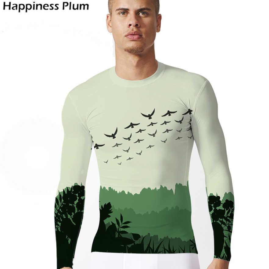 Футболка с птицей, футболка с лесом, новая модная мужская футболка с длинным рукавом, 3d принт, шторм, море, ласточка, футболка, летние топы, футболка, брендовая одежда