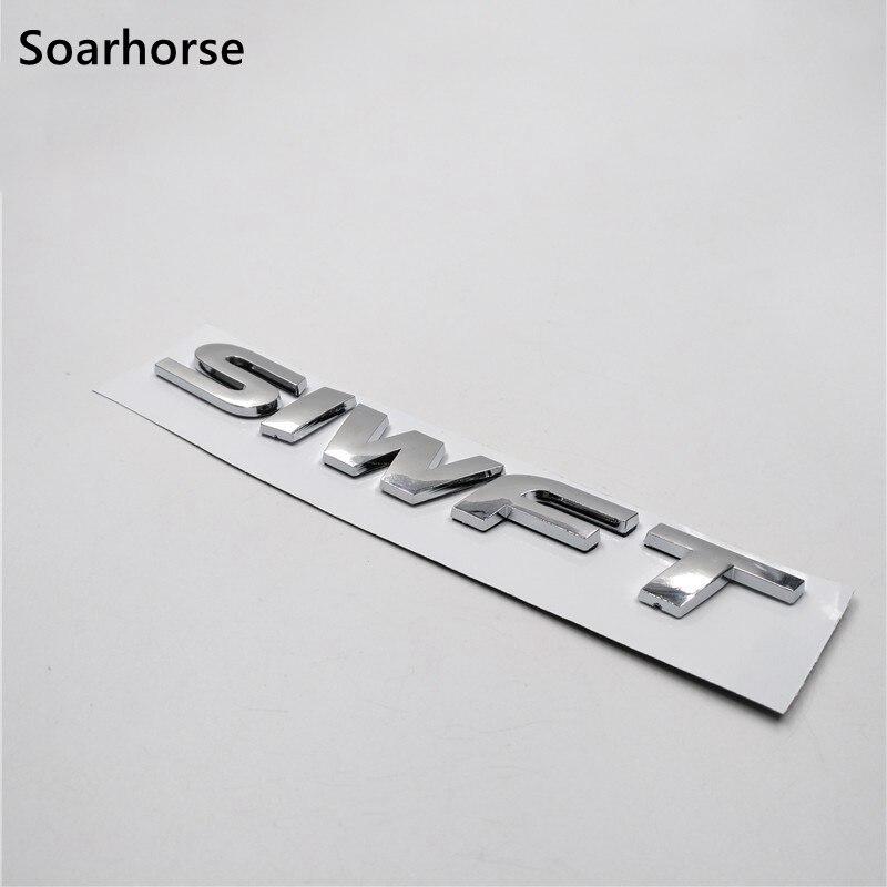 lowest price Soarhorse New For Suzuki Swift 3D Letters Logo Sticker Car Rear Trunk Lid Silver Emblem Badge