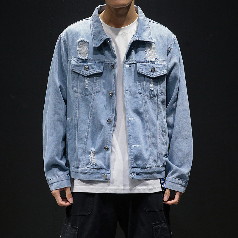 men light blue denim jackets holes jean jackets streetwear