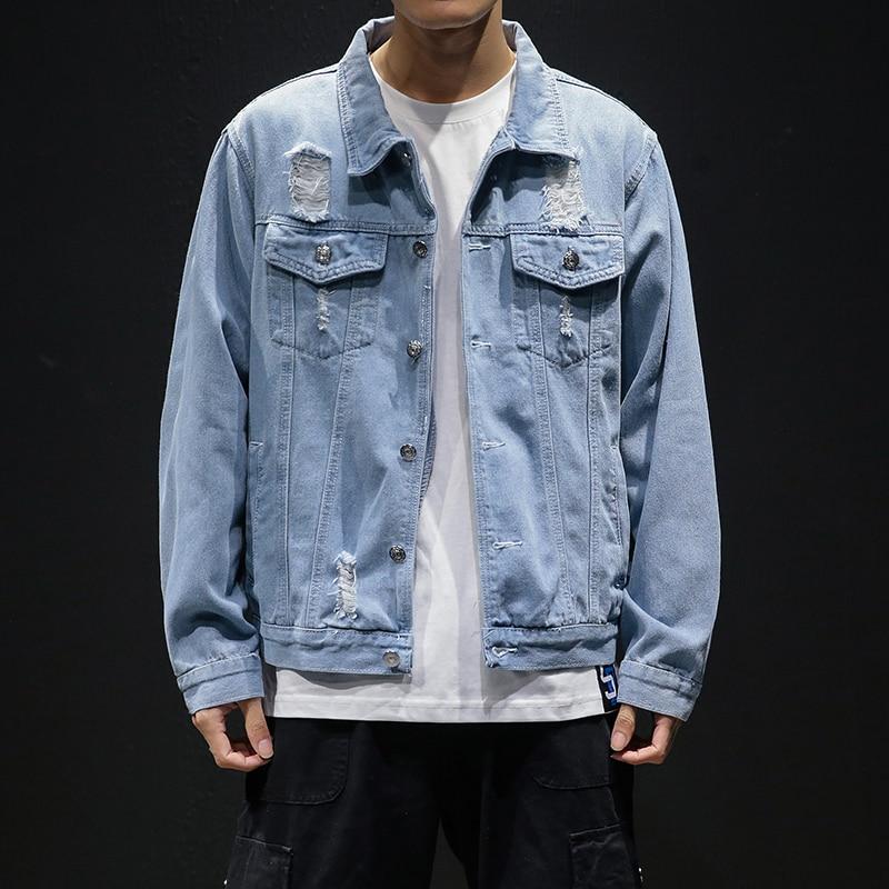 Men Light Blue Denim Jackets Holes Jean Jackets Streetwear Casual Denim Coats Men Cotton Outwear Slim Denim Jackets Size 5XL