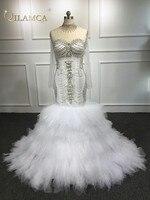 Индивидуальный заказ 100% настоящая фотография Сексуальная Люкс Русалка Кристалл бисером Свадебные платья Длинные вечерние свадебные плать