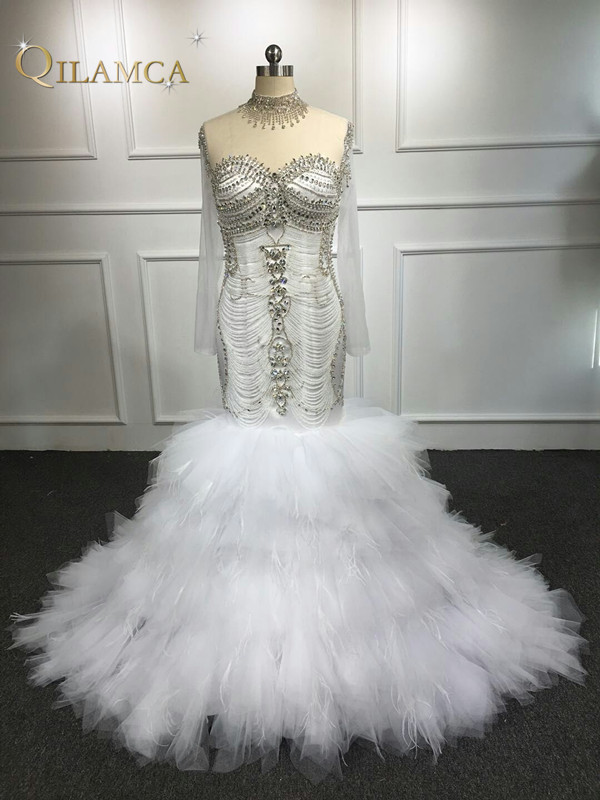 Custom Made 100% Real Photo Sexy Luxury Mermaid Crystal Beaded Wedding Dresses Long Formal Bridal Gowns Robe De Soiree