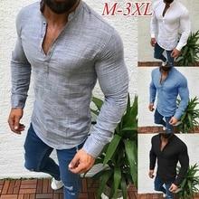ZOGAA  Fashion Mens Pullover Shirt Long Sleeve Linen Shirts Collarless Shirt Men Camisas Manga Comprida camisa masculina