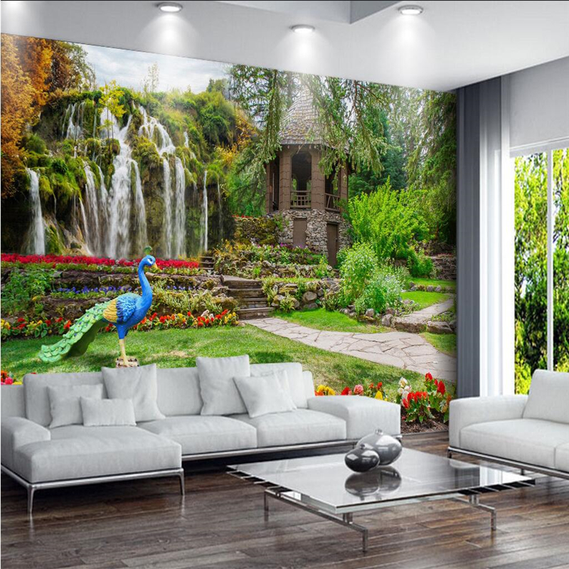 US $9.0 40% OFF|Beibehang Benutzerdefinierte fresco tapeten garten  landschaft wasserfall landschaft hintergrund wand wohnzimmer schlafzimmer  ...