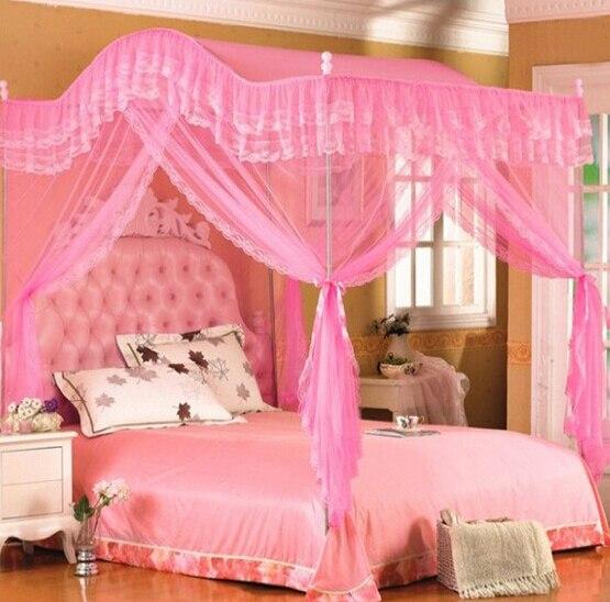 1 PC plancher type cour palais moustiquaire pour lit baldaquin lit rideau chine dentelle acier inoxydable Tube Rail filets KR 020