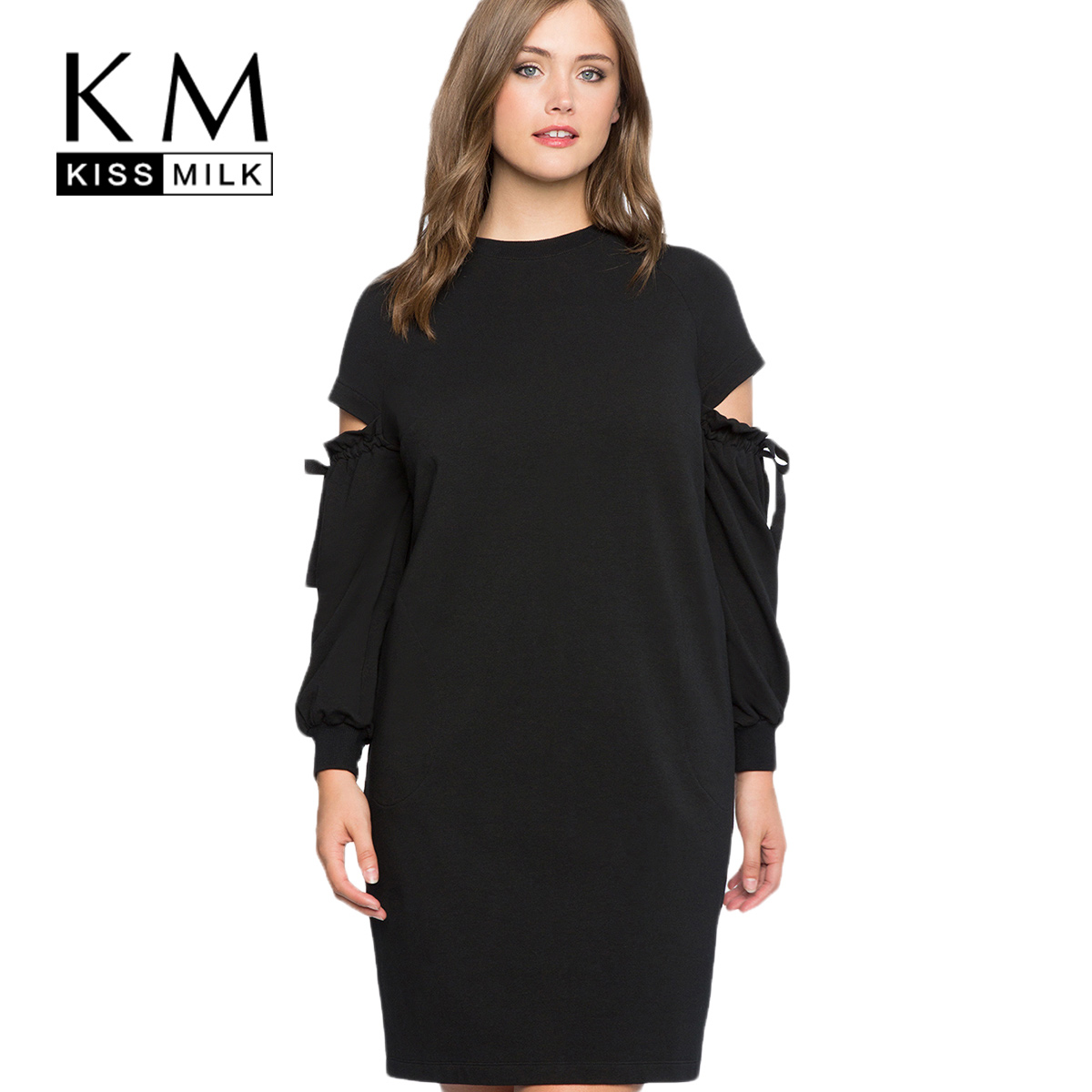 kissmilk 2018 Plus Size Solid Black Hollow Out Women Sweatshirt-dresses Lace Up Lantern Sleeve Female Big Size Casual Lady Dress casual fall style black long sleeve lace up sweatshirt