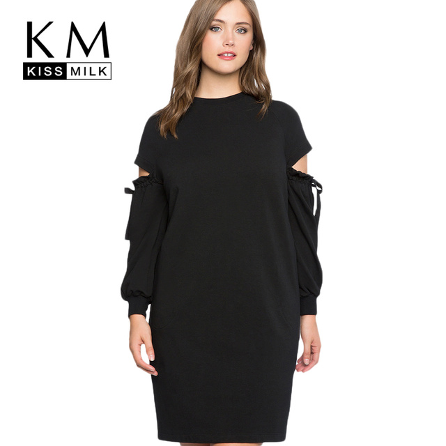 kissmilk 2018 Plus Size Solid Black Hollow Out Women Sweatshirt-dresses  Lace Up Lantern Sleeve Female Big Size Casual Lady Dress 58a0553341ce