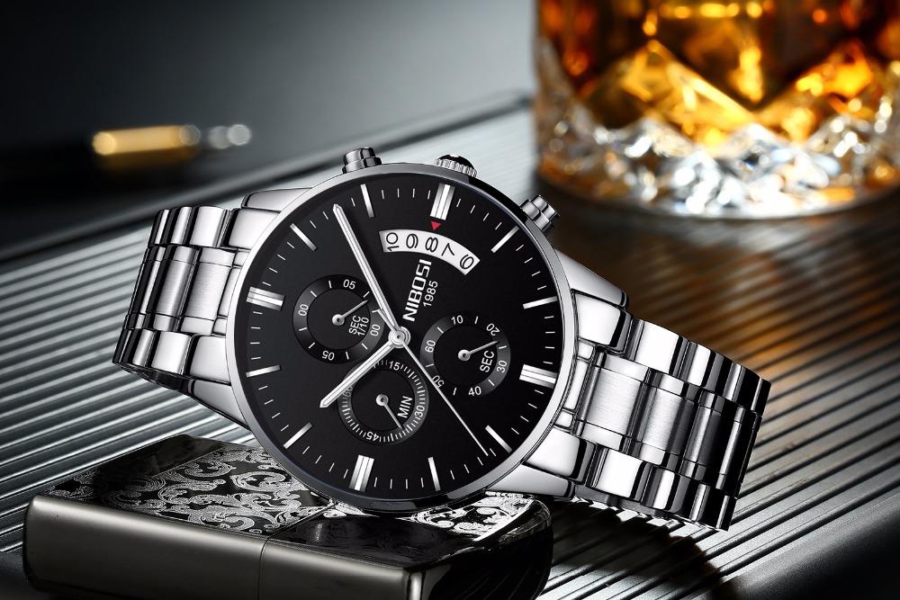 Relojes de hombre NIBOSI Relogio Masculino, relojes de pulsera de cuarzo de estilo informal de marca famosa de lujo para hombre, relojes de pulsera Saat 33