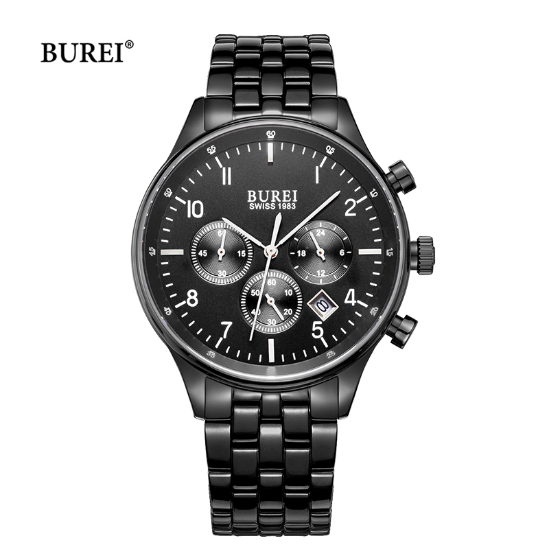 BUREI Brand Man Watch Mens Waterproof Army Military Sapphire Crystal Quartz Wrist Watch Clock Men 2017 Hours Relogio Masculino